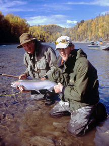 Maxwell Steelhead Guides :: Client with Guide on the Bulkley River, British Columbia